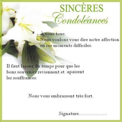 modèle carte de condoléances modele texte condoleances