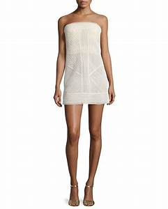 Kaufman franco Strapless Bustier Crepe Mini Dress in White ...