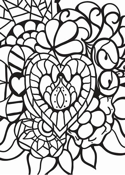 Coloring Pages Heart Adults Abstract Patterns Hearts