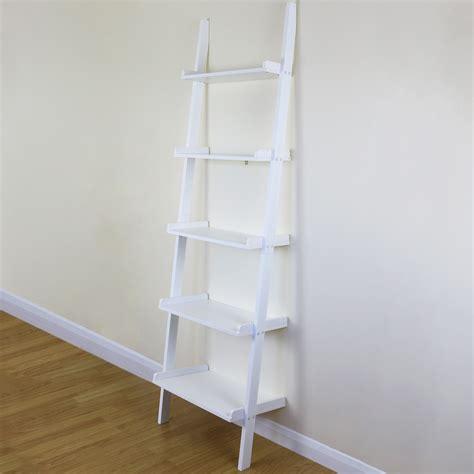 White Wall Shelf Unit by 5 Tier White Ladder Wall Shelf Home Storage Display Unit