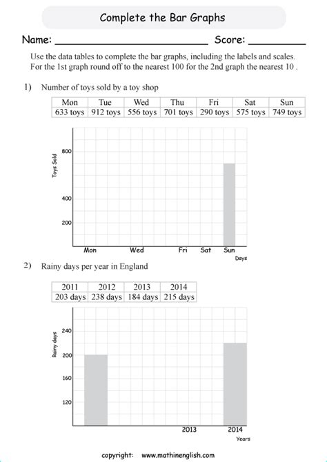 complete  bar graph printable grade  math worksheet