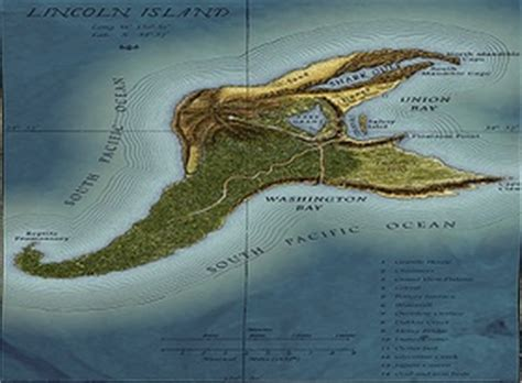 Mysterious Lincoln Island Map  Jules Verne  Island In