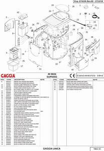 Gaggia Unica Parts Diagram E74155 Rev 00 Sup035g  User Manual