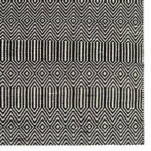 Tapis moderne noir et blanc tisse main en coton et laine for Tapis modernes italiens