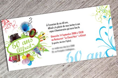 Carte Invitation Anniversaire 60 Ans Et Retraite Dn69
