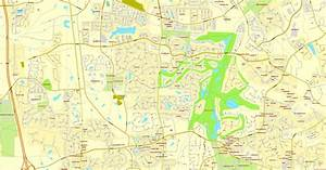 Raleigh Map, North Carolina, US, vector map Adobe PDF ...
