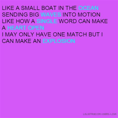 Small Boat Song Lyrics by Like A Small Boat In The Sending Big Waves Into