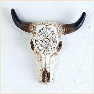 Western Tooled Bull Cow Skull Sculpture for Wall or Table