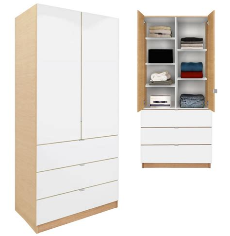 wardrobe cabinet with drawers alta wardrobe armoire adjustable shelves 3 drawers