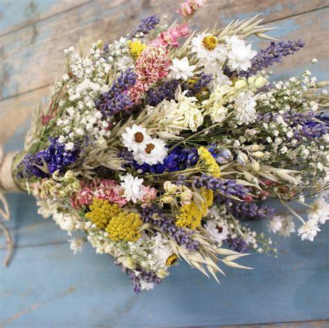 festival meadow dried flower wedding bouquet