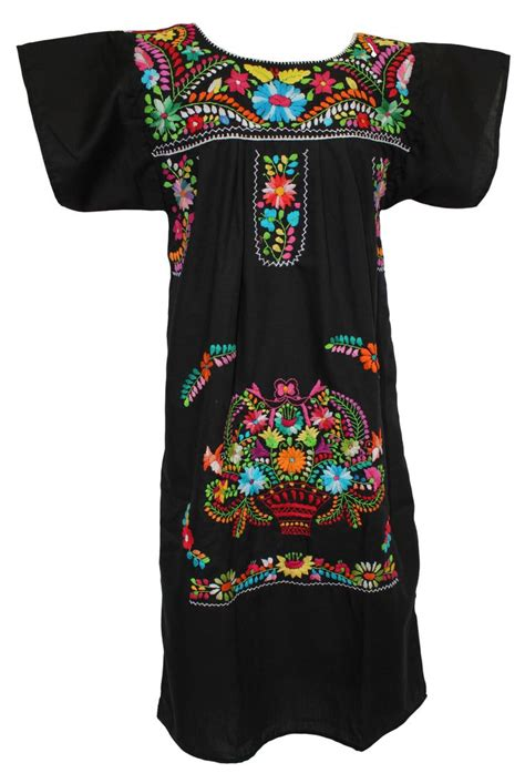 mexican dress traditional floral black mexican dresses
