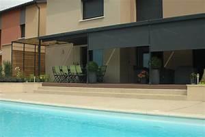 pergola acier adossee avec stores verticaux motorises With charming toile pour terrasse exterieur 4 brise vue sur mesure