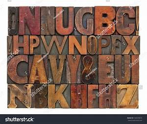 random alphabet letters vintage letterpress wood type With leather press letters