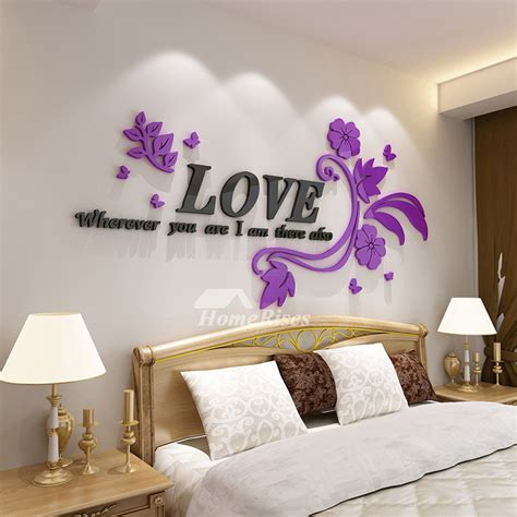flower wall decals letter pinkpurple acrylic living room