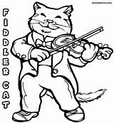 Violin Coloring Pages Fiddle Cat Sheet Colour Popular Colorings sketch template