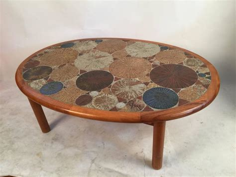 tue poulsen for haslev oval coffee table with tile