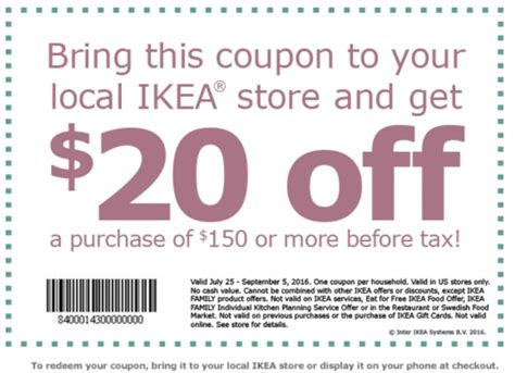 Ikea Gutscheine by Ikea Coupon Save 25 150 Purchase