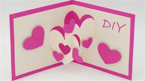 geburtstagskarte basteln aus papier pop up karten basteln mit papier herz karte selber machen diy