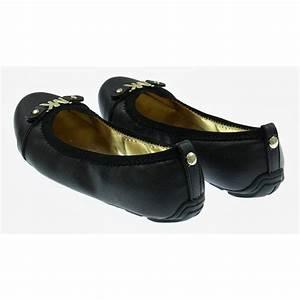 Michael Kors Girls Black Ballerina Shoes with Gold Emblems ...