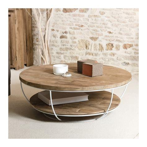 tables et chaises de salle table basse ronde bois et métal blanc 100cm tinesixe