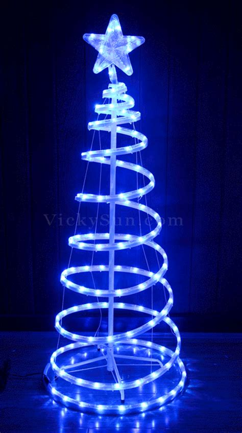 animated 153cm led white blue tree and