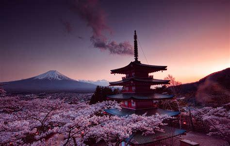 churei tower mount fuji  japan  p