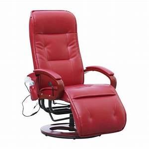 Fauteuil Cuir Rouge : fauteuil relax massant avignon cuir rouge achat vente ~ Teatrodelosmanantiales.com Idées de Décoration