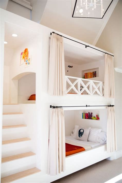 bunk beds with built in stairway and curtain rods