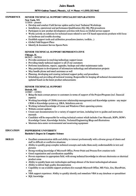 Resume Technical Support by Senior Technical Support Resume Sles Velvet