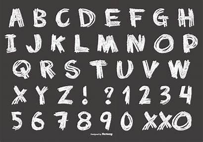 Chalk Alphabet Messy Vector Drawing Clipart