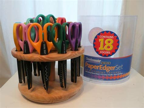 paper edger scissor set  patterns  rotating wood