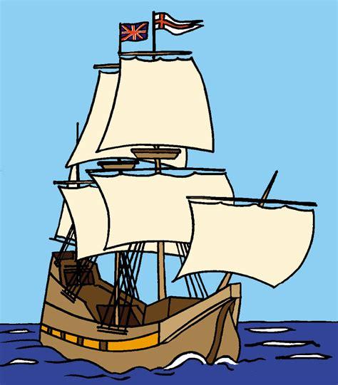 Cartoon Mayflower Boat clip art mayflower ship b w pilgrims history