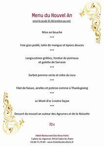 Restaurant Des Deux Forts Menu Du Nouvel An Menu Du