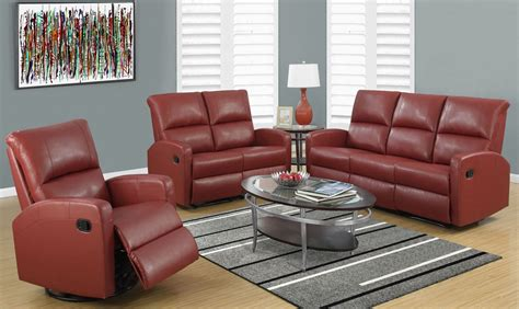 Red Bonded Leather Reclining Living Room Set From Monarch Home Theater With Wireless Rear Speakers Office Use Program Microsoft 2010 And Business Amplifier Desks Nz Corner For Download 2013 Chair