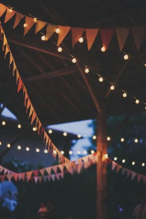 string up pennant garlands and cafe lights at your outdoor