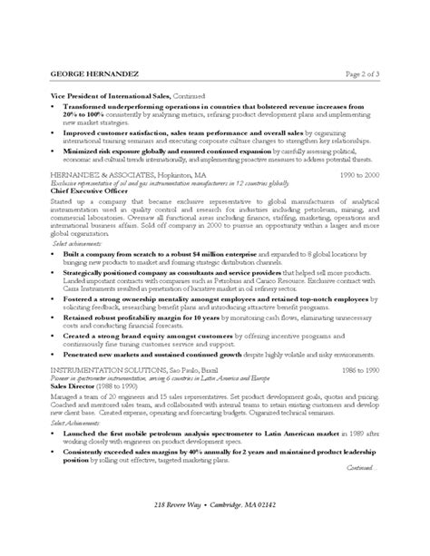International Sales Resume Template by International Sales And Marketing Executive Free