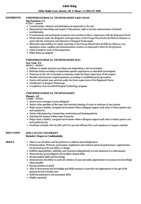 Surgical Tech Resume by Certified Surgical Technologist Resume Sles Velvet