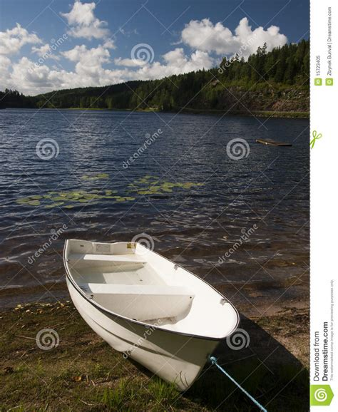 Lake Boats Small by Lake With Small Boat Royalty Free Stock Photo Image