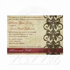 vintage damask red and brown wedding invitation from With chocolate wedding invitations printable