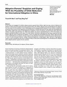 Pdf  Adoptive Parents U0026 39  Suspicion And Coping With The Possibility Of Child Abduction For