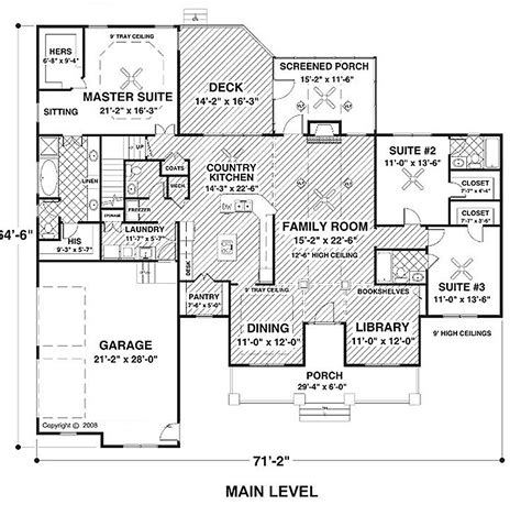 3 bedroom ranch floor plans country style house plan 3 beds 3 5 baths 2294 sq ft