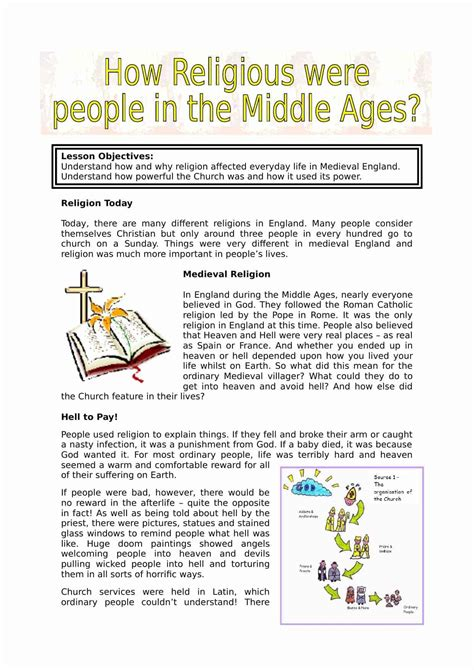 Medieval Religion Facts And Information Lesson Plan Worksheet