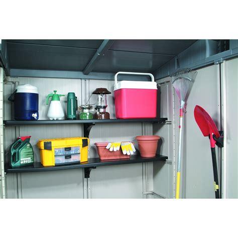 keter storage shed shelves keter 1 8m polypropylene shelving kit suits factor