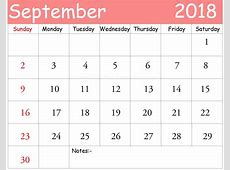 September 2018 Calendar PDF yearly printable calendar