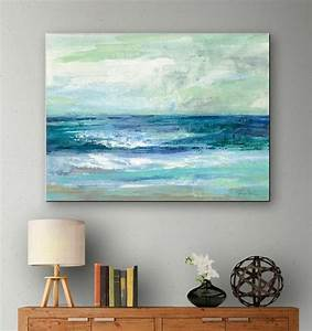 Blue, Ocean, Art, Print, On, Canvas