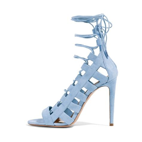 light blue shoes heels light blue lace up sandals strappy open toe suede stiletto