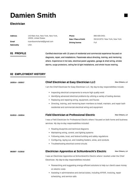 Www Resume by 12x Free Electrician Resume Template