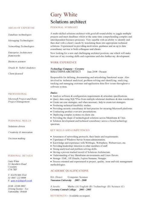 Solutions Architect Resume Template by Solutions Architect Cv Sle Cv Writing Career History