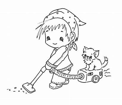 Cleaning Coloring Digi Pages Stamps Sliekje Clean