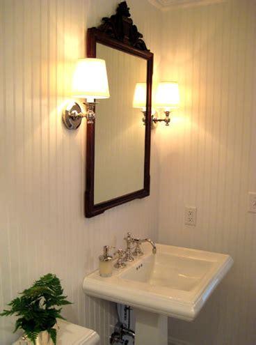powder room  beadboard cottage bathroom summer